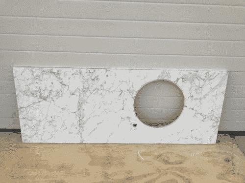 Marmer Bianco Carrara Polished 167 x 65 x 30 mm massief. Hartmaat spoelbak 52,5 vanaf links