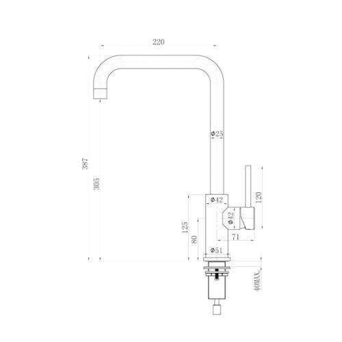 Kraan-Varese-Gun-Metal-afmetingen